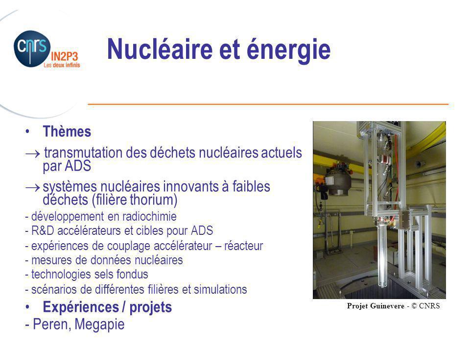 ______________________________________________ Nucléaire et énergie Thèmes transmutation des déchets nucléaires actuels par ADS systèmes nucléaires innovants à faibles déchets (filière thorium) - développement en radiochimie - R&D accélérateurs et cibles pour ADS - expériences de couplage accélérateur – réacteur - mesures de données nucléaires - technologies sels fondus - scénarios de différentes filières et simulations Expériences / projets - Peren, Megapie Projet Guinevere - © CNRS