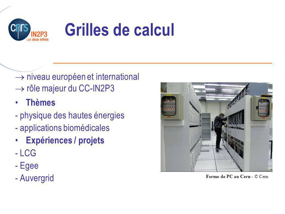 ______________________________________________ Grilles de calcul niveau européen et international rôle majeur du CC-IN2P3 Thèmes - physique des hautes énergies - applications biomédicales Expériences / projets - LCG - Egee - Auvergrid Ferme de PC au Cern - © Cern