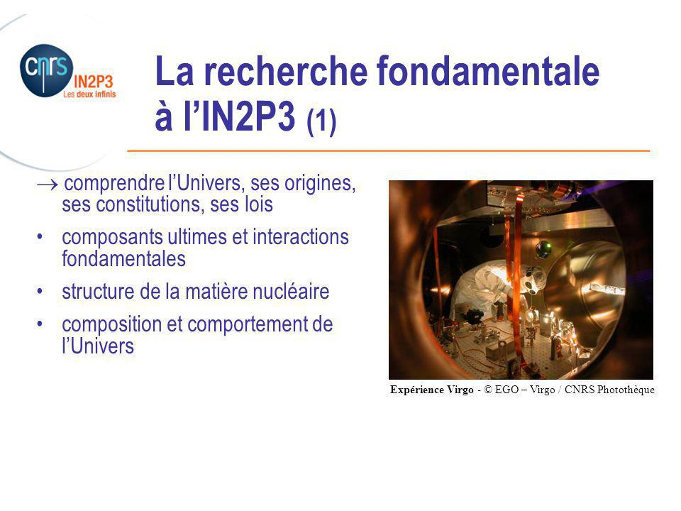 ______________________________________________ La recherche fondamentale à lIN2P3 (1) comprendre lUnivers, ses origines, ses constitutions, ses lois composants ultimes et interactions fondamentales structure de la matière nucléaire composition et comportement de lUnivers Expérience Virgo - © EGO – Virgo / CNRS Photothèque