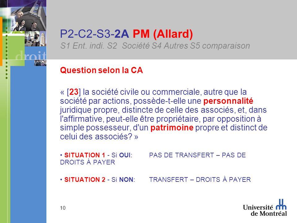 10 P2-C2-S3-2A PM (Allard) S1 Ent. indi. S2 Société S4 Autres S5 comparaison Question selon la CA « [23] la société civile ou commerciale, autre que l
