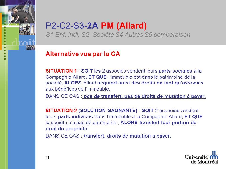 11 P2-C2-S3-2A PM (Allard) S1 Ent. indi. S2 Société S4 Autres S5 comparaison Alternative vue par la CA SITUATION 1 : SOIT les 2 associés vendent leurs