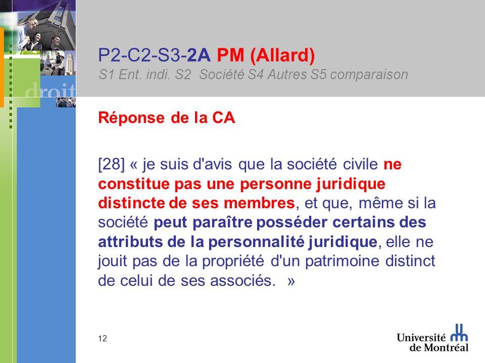 12 P2-C2-S3-2A PM (Allard) S1 Ent. indi. S2 Société S4 Autres S5 comparaison Réponse de la CA [28] « je suis d'avis que la société civile ne constitue