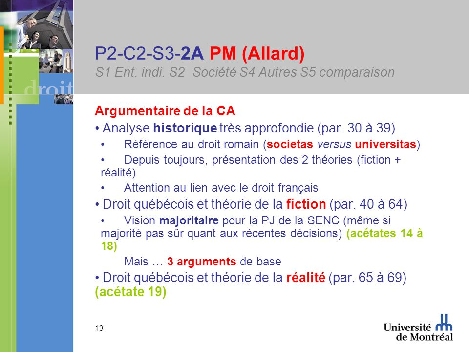 13 P2-C2-S3-2A PM (Allard) S1 Ent. indi. S2 Société S4 Autres S5 comparaison Argumentaire de la CA Analyse historique très approfondie (par. 30 à 39)