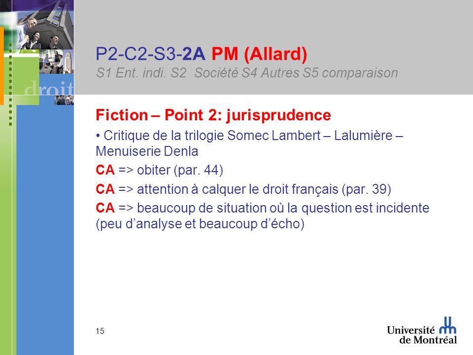 15 P2-C2-S3-2A PM (Allard) S1 Ent. indi. S2 Société S4 Autres S5 comparaison Fiction – Point 2: jurisprudence Critique de la trilogie Somec Lambert –
