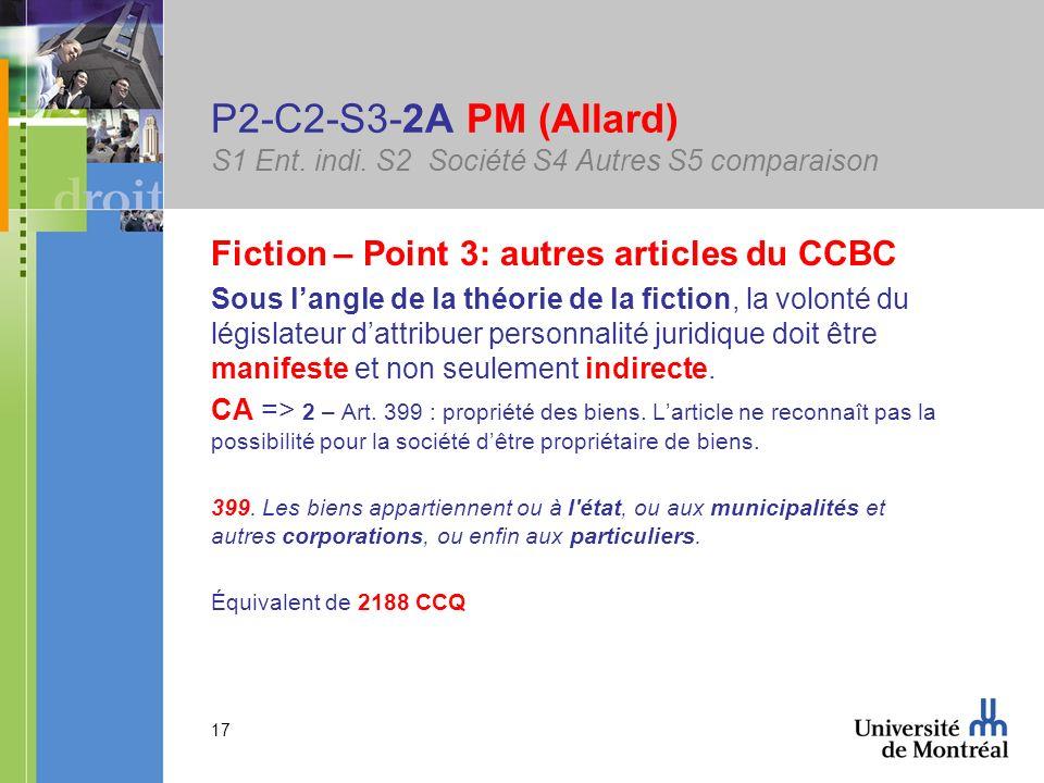 17 P2-C2-S3-2A PM (Allard) S1 Ent. indi. S2 Société S4 Autres S5 comparaison Fiction – Point 3: autres articles du CCBC Sous langle de la théorie de l