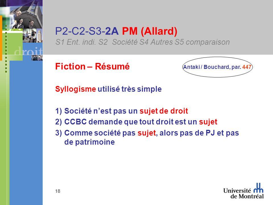 18 P2-C2-S3-2A PM (Allard) S1 Ent. indi. S2 Société S4 Autres S5 comparaison Fiction – Résumé Syllogisme utilisé très simple 1)Société nest pas un suj