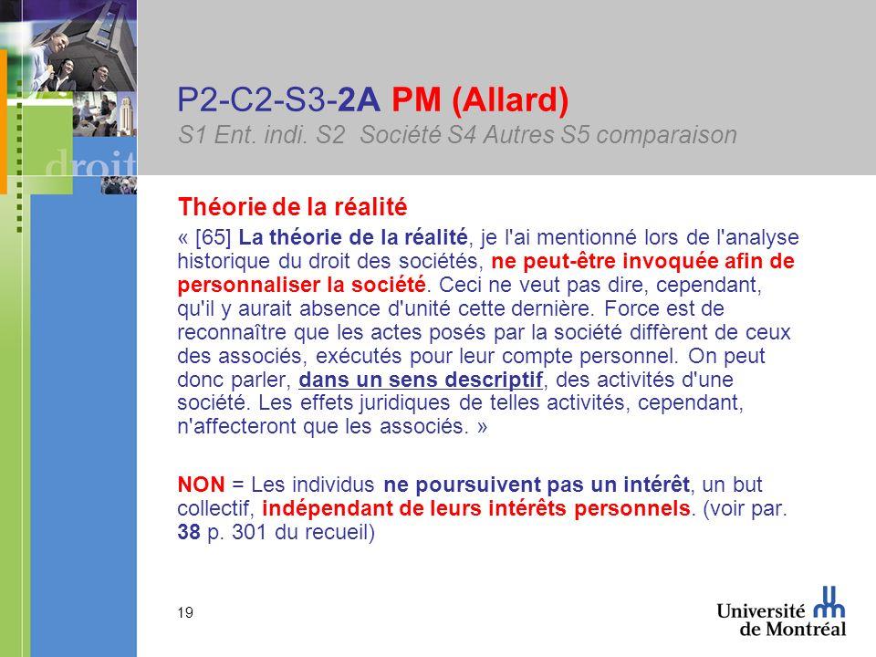 19 P2-C2-S3-2A PM (Allard) S1 Ent. indi. S2 Société S4 Autres S5 comparaison Théorie de la réalité « [65] La théorie de la réalité, je l'ai mentionné