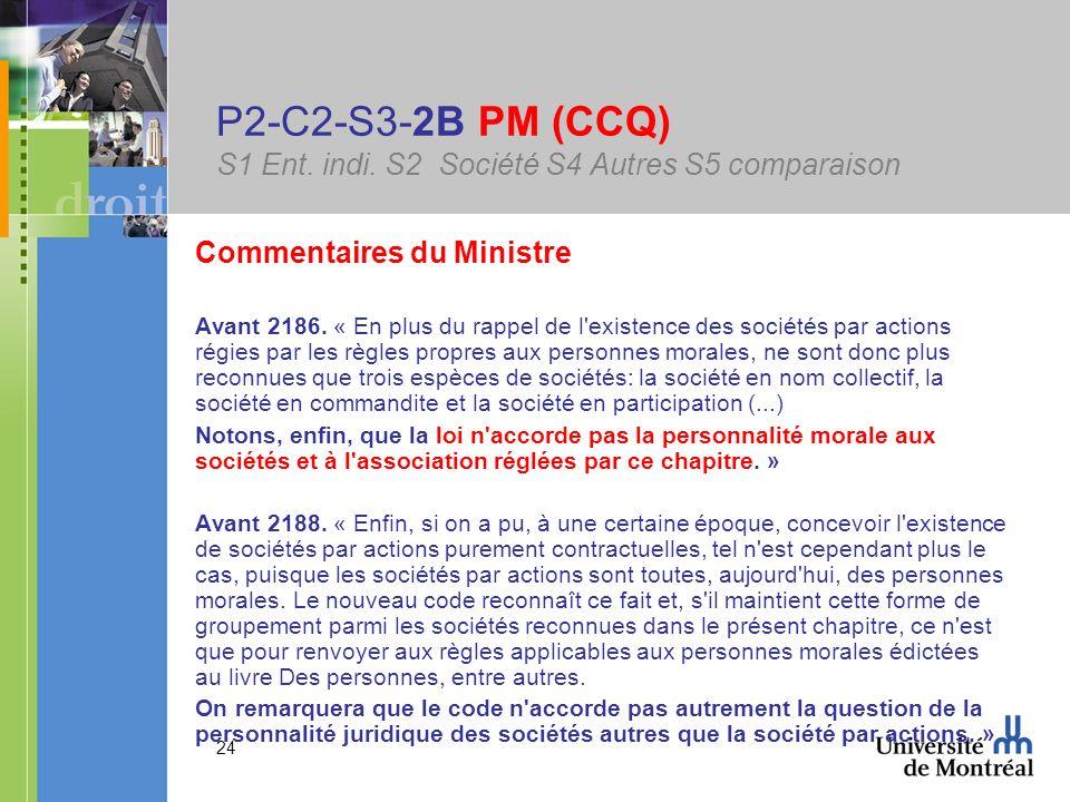 24 P2-C2-S3-2B PM (CCQ) S1 Ent. indi. S2 Société S4 Autres S5 comparaison Commentaires du Ministre Avant 2186. « En plus du rappel de l'existence des