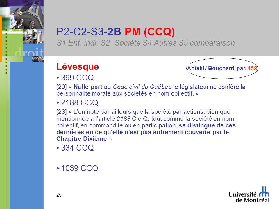 25 P2-C2-S3-2B PM (CCQ) S1 Ent. indi. S2 Société S4 Autres S5 comparaison Lévesque 399 CCQ [20] « Nulle part au Code civil du Québec le législateur ne
