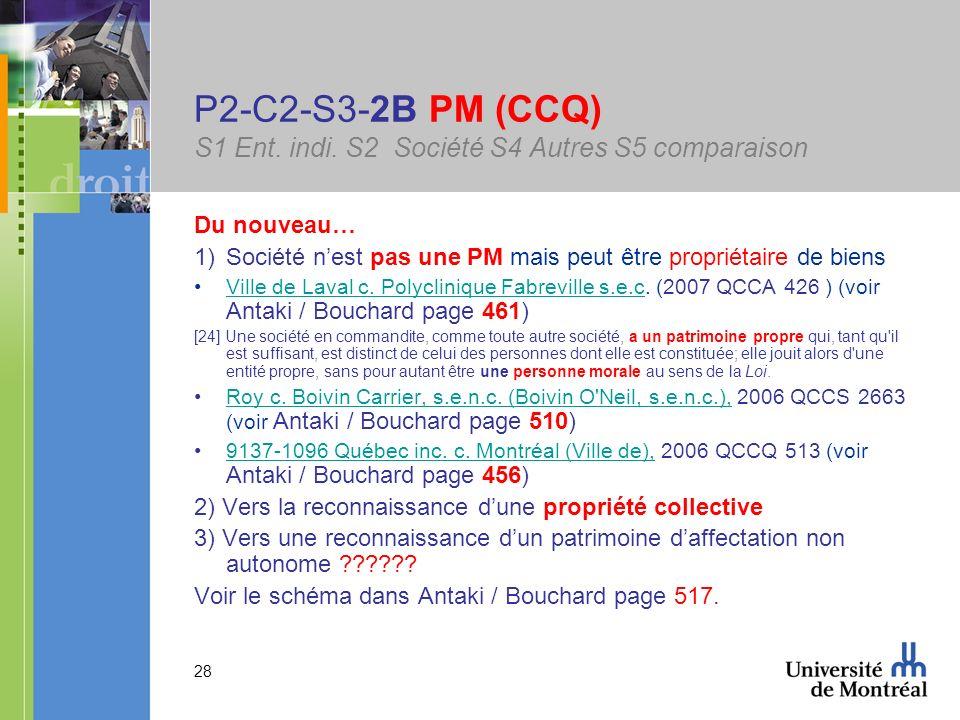 28 P2-C2-S3-2B PM (CCQ) S1 Ent. indi. S2 Société S4 Autres S5 comparaison Du nouveau… 1)Société nest pas une PM mais peut être propriétaire de biens V