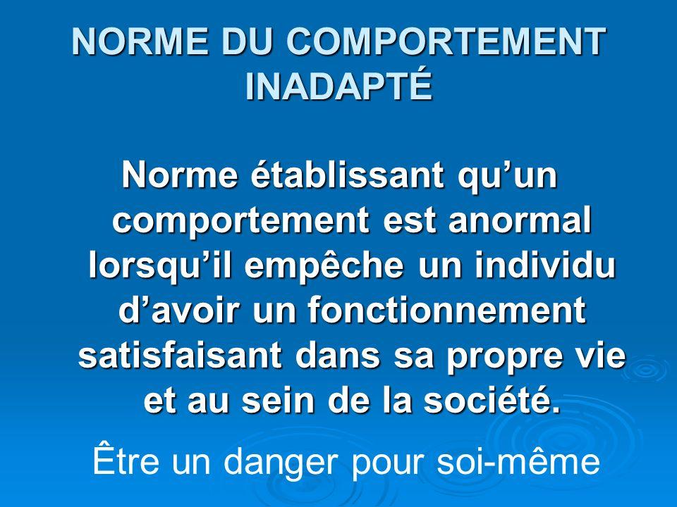 NORME DU COMPORTEMENT INADAPTÉ Norme établissant quun comportement est anormal lorsquil empêche un individu davoir un fonctionnement satisfaisant dans
