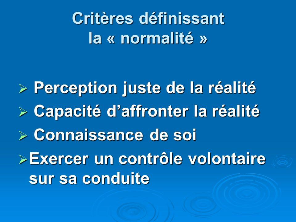 Critères définissant la « normalité » Perception juste de la réalité Perception juste de la réalité Capacité daffronter la réalité Capacité daffronter