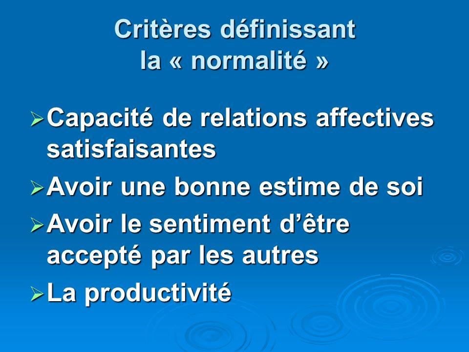 Critères définissant la « normalité » Capacité de relations affectives satisfaisantes Capacité de relations affectives satisfaisantes Avoir une bonne