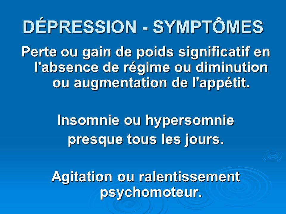 DÉPRESSION - SYMPTÔMES Perte ou gain de poids significatif en l'absence de régime ou diminution ou augmentation de l'appétit. Insomnie ou hypersomnie