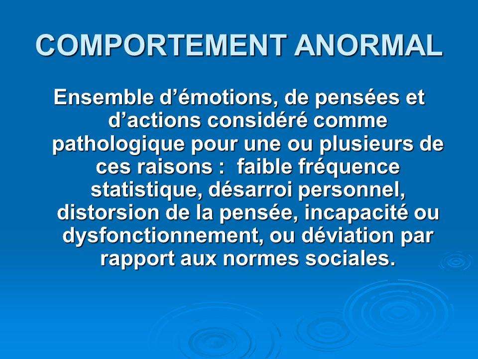 COMPORTEMENT ANORMAL Ensemble démotions, de pensées et dactions considéré comme pathologique pour une ou plusieurs de ces raisons : faible fréquence s