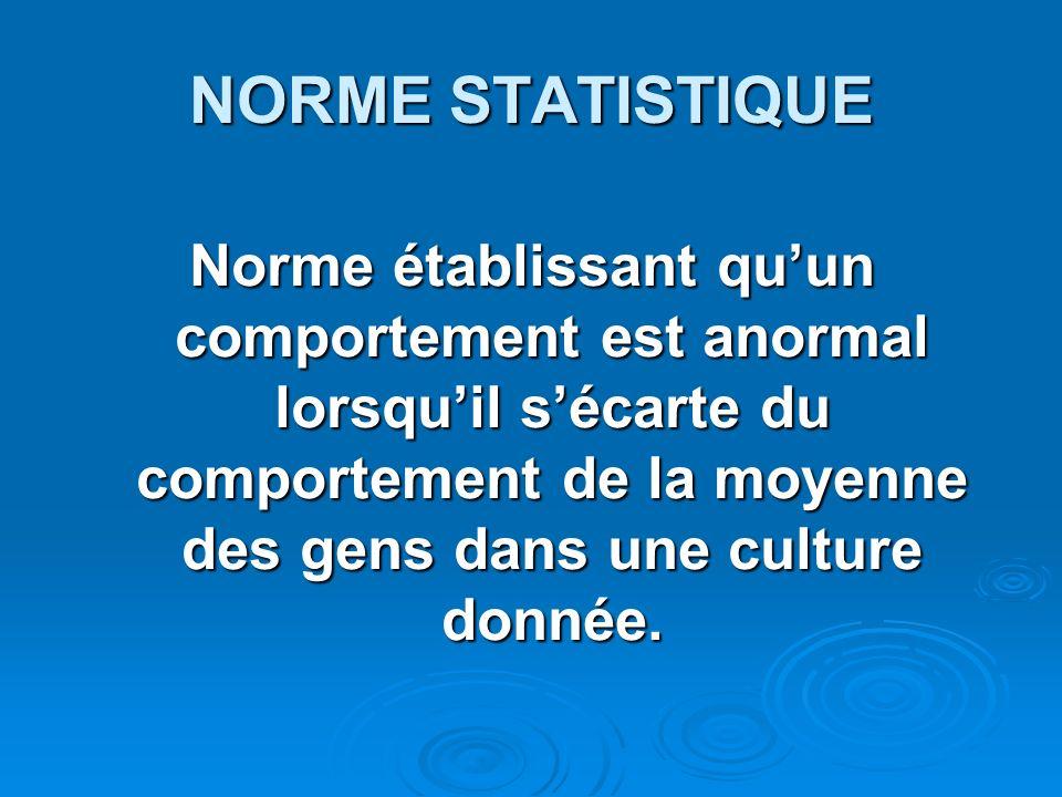 NORME STATISTIQUE Norme établissant quun comportement est anormal lorsquil sécarte du comportement de la moyenne des gens dans une culture donnée.