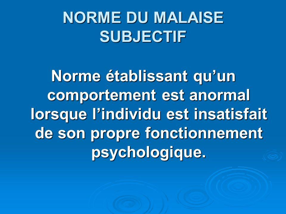 NORME DU MALAISE SUBJECTIF Norme établissant quun comportement est anormal lorsque lindividu est insatisfait de son propre fonctionnement psychologiqu