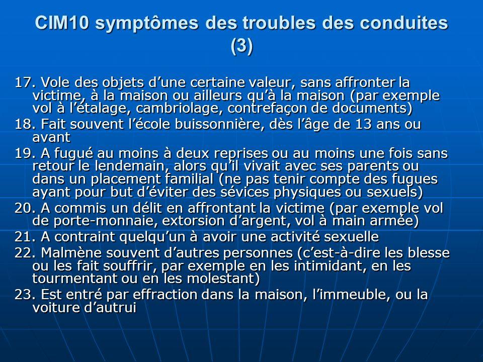 CIM10 symptômes des troubles des conduites (3) 17. Vole des objets dune certaine valeur, sans affronter la victime, à la maison ou ailleurs quà la mai
