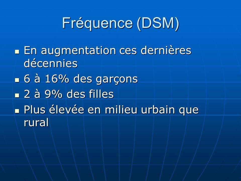 Fréquence (DSM) En augmentation ces dernières décennies En augmentation ces dernières décennies 6 à 16% des garçons 6 à 16% des garçons 2 à 9% des fil