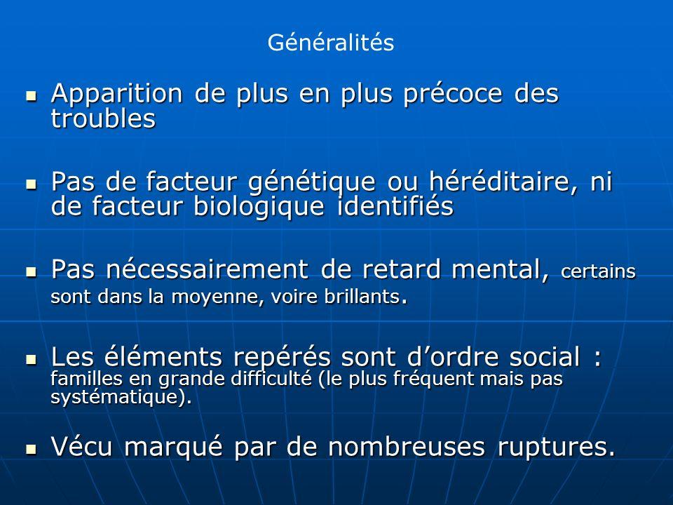 Apparition de plus en plus précoce des troubles Apparition de plus en plus précoce des troubles Pas de facteur génétique ou héréditaire, ni de facteur