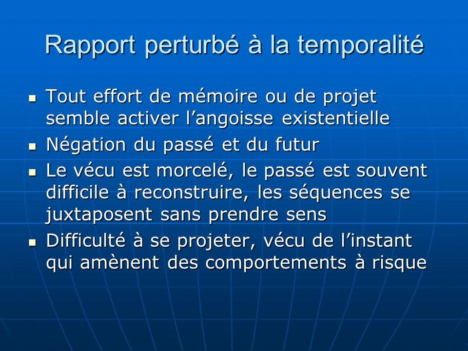 Rapport perturbé à la temporalité Tout effort de mémoire ou de projet semble activer langoisse existentielle Tout effort de mémoire ou de projet sembl