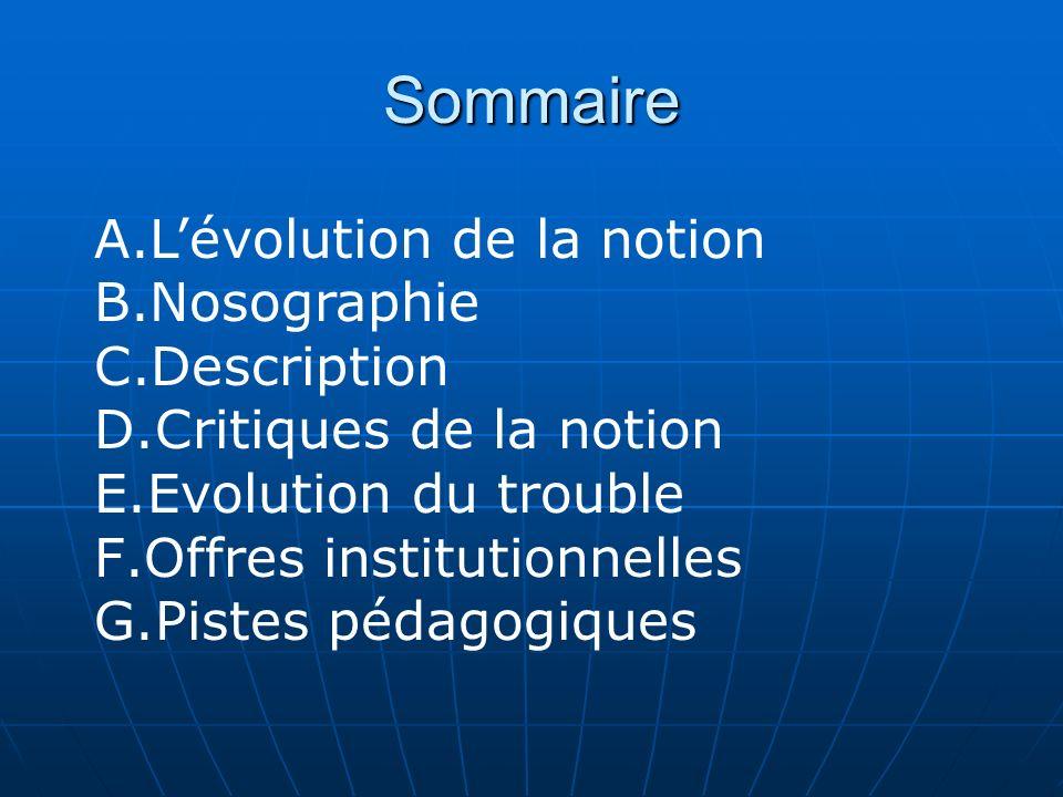 Sommaire A.Lévolution de la notion B.Nosographie C.Description D.Critiques de la notion E.Evolution du trouble F.Offres institutionnelles G.Pistes péd