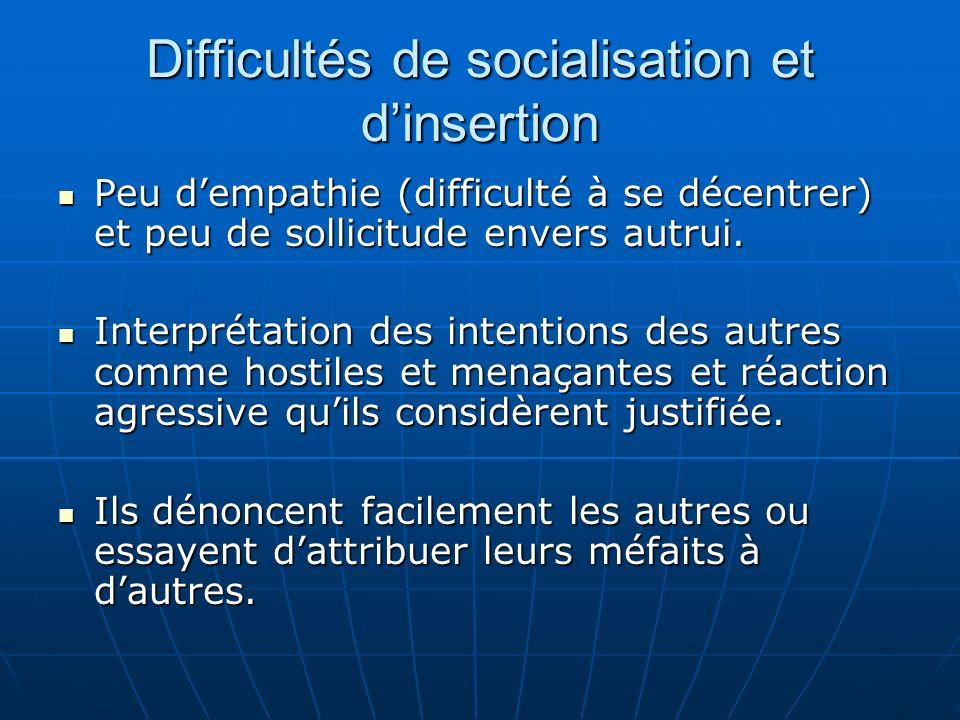 Difficultés de socialisation et dinsertion Peu dempathie (difficulté à se décentrer) et peu de sollicitude envers autrui. Peu dempathie (difficulté à