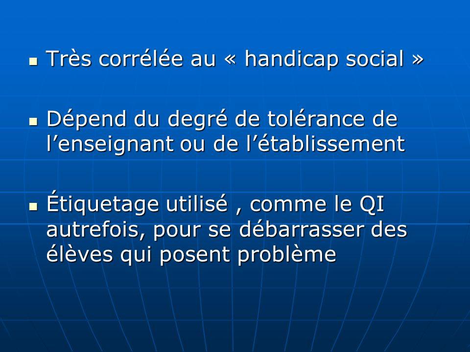 Très corrélée au « handicap social » Très corrélée au « handicap social » Dépend du degré de tolérance de lenseignant ou de létablissement Dépend du d