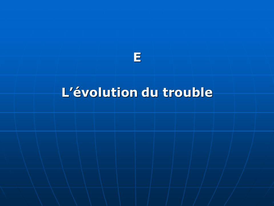 E Lévolution du trouble