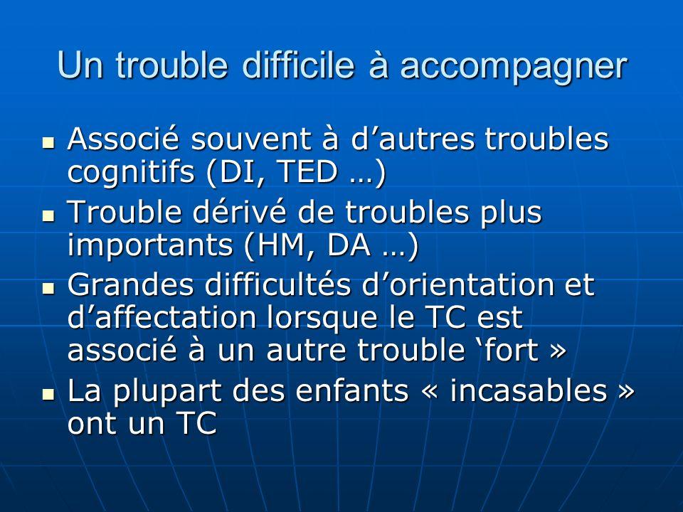 Un trouble difficile à accompagner Associé souvent à dautres troubles cognitifs (DI, TED …) Associé souvent à dautres troubles cognitifs (DI, TED …) T