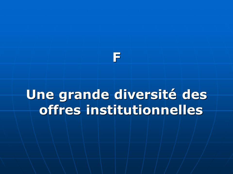 F Une grande diversité des offres institutionnelles