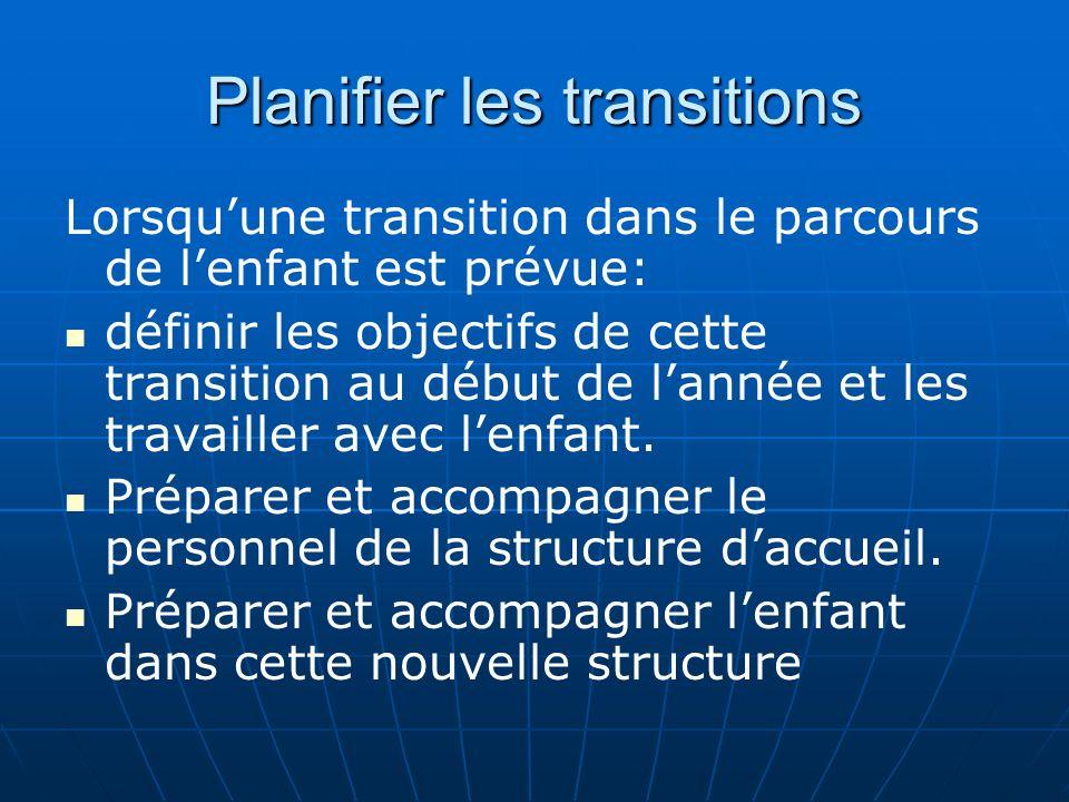 Planifier les transitions Lorsquune transition dans le parcours de lenfant est prévue: définir les objectifs de cette transition au début de lannée et