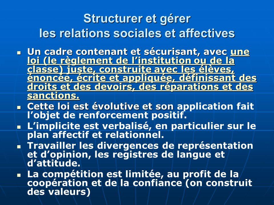 Structurer et gérer les relations sociales et affectives Un cadre contenant et sécurisant, avec une loi (le règlement de linstitution ou de la classe)