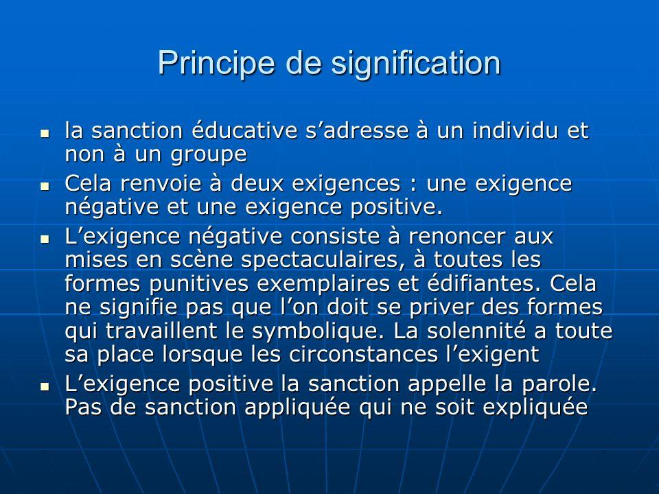 Principe de signification la sanction éducative sadresse à un individu et non à un groupe la sanction éducative sadresse à un individu et non à un gro