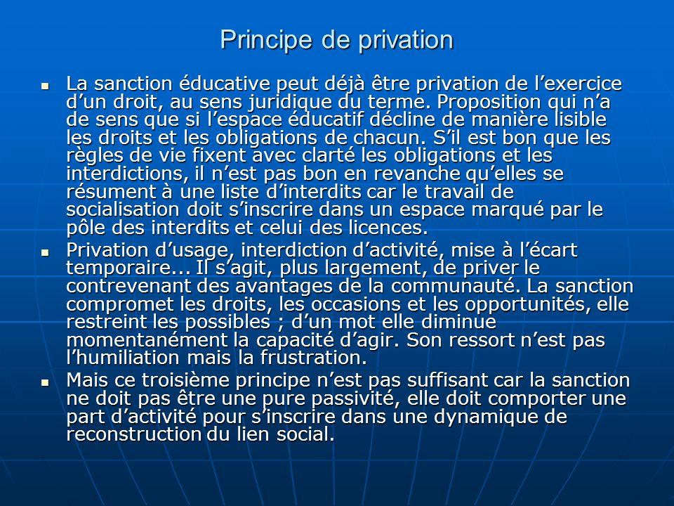 Principe de privation La sanction éducative peut déjà être privation de lexercice dun droit, au sens juridique du terme. Proposition qui na de sens qu