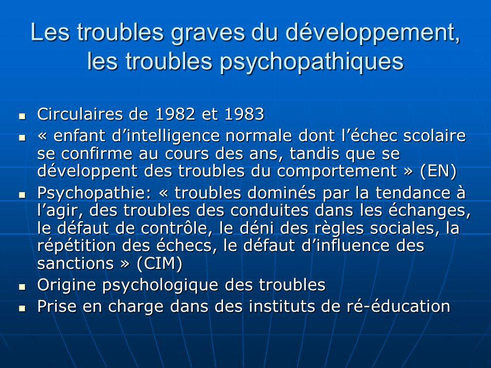 Les troubles graves du développement, les troubles psychopathiques Circulaires de 1982 et 1983 Circulaires de 1982 et 1983 « enfant dintelligence norm