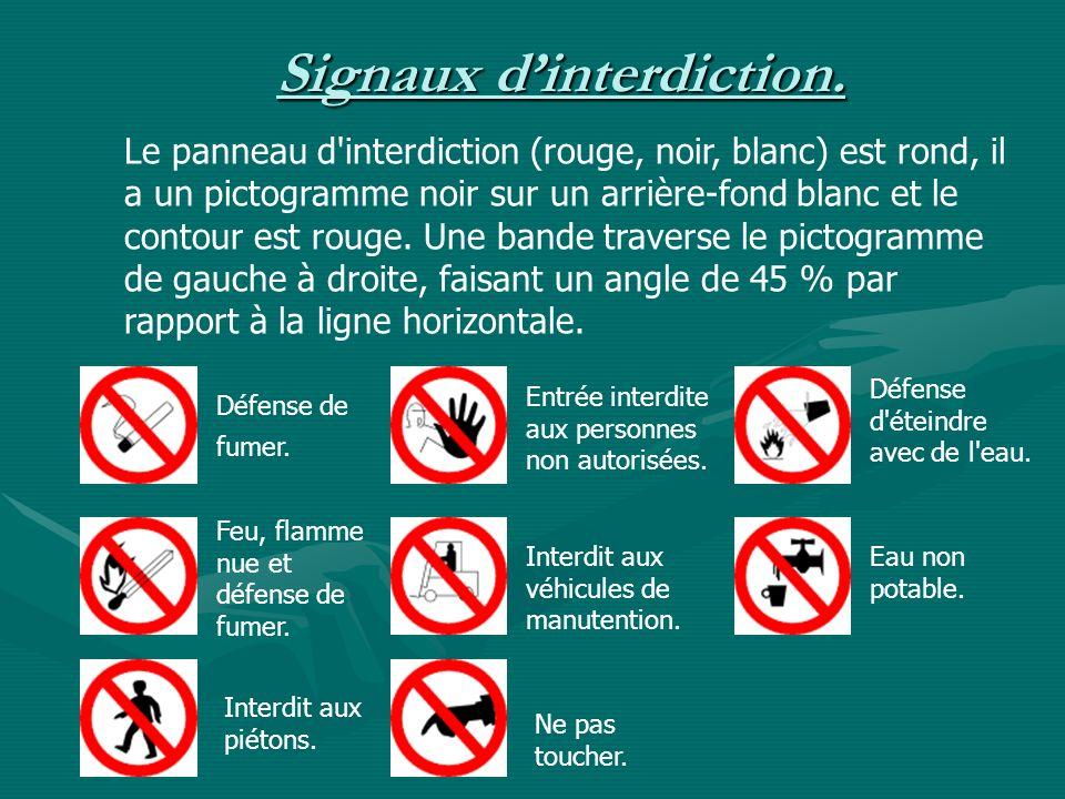 Signaux dinterdiction. Le panneau d'interdiction (rouge, noir, blanc) est rond, il a un pictogramme noir sur un arrière-fond blanc et le contour est r