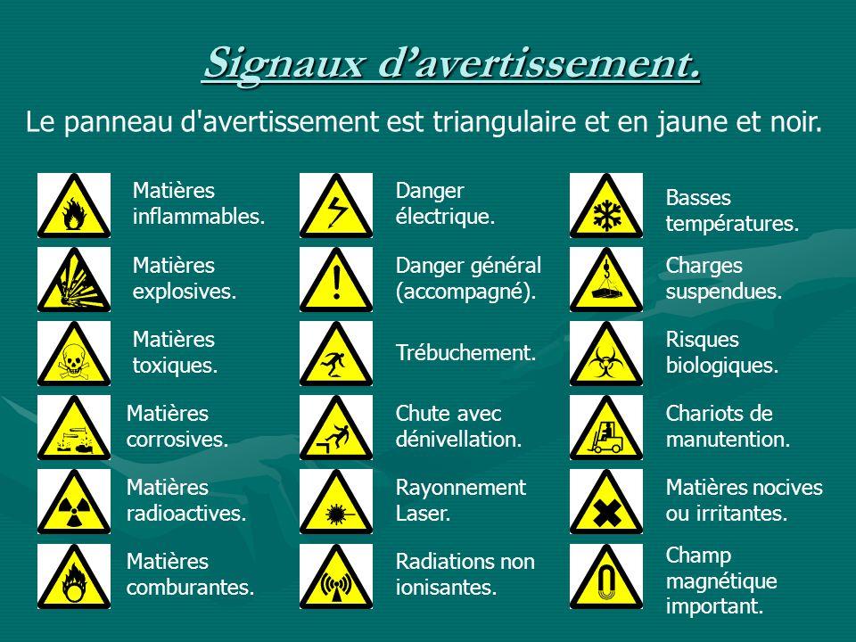 Signaux davertissement. Le panneau d'avertissement est triangulaire et en jaune et noir. Matières inflammables. Matières explosives. Matières toxiques