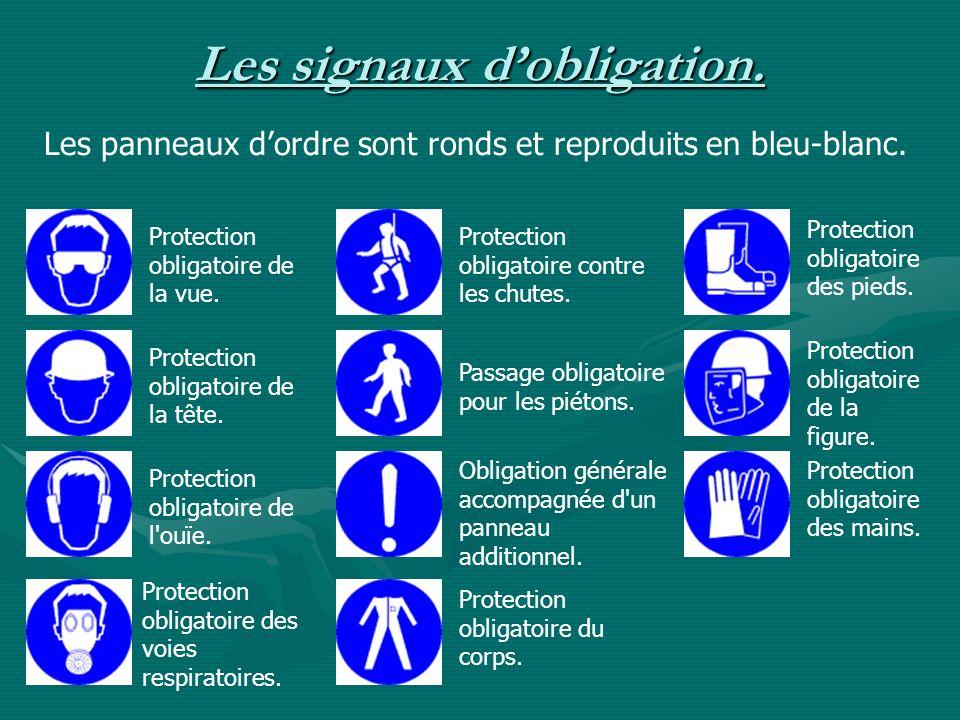 Les signaux dobligation. Les panneaux dordre sont ronds et reproduits en bleu-blanc. Protection obligatoire de la vue. Protection obligatoire de la tê