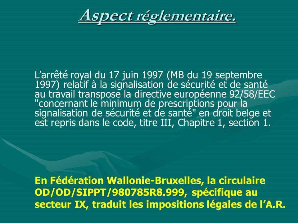 Aspect réglementaire. Larrêté royal du 17 juin 1997 (MB du 19 septembre 1997) relatif à la signalisation de sécurité et de santé au travail transpose