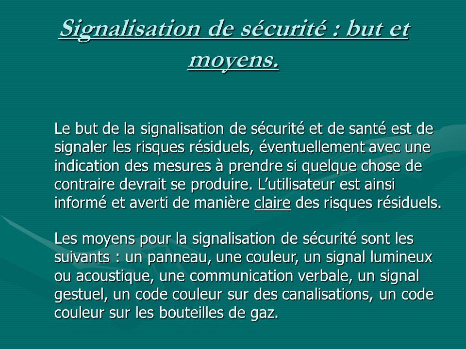Signalisation de sécurité : but et moyens. Le but de la signalisation de sécurité et de santé est de signaler les risques résiduels, éventuellement av