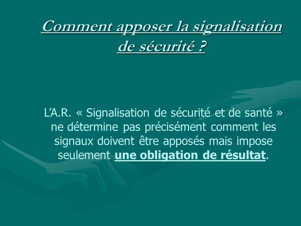 Comment apposer la signalisation de sécurité ? LA.R. « Signalisation de sécurité et de santé » ne détermine pas précisément comment les signaux doiven