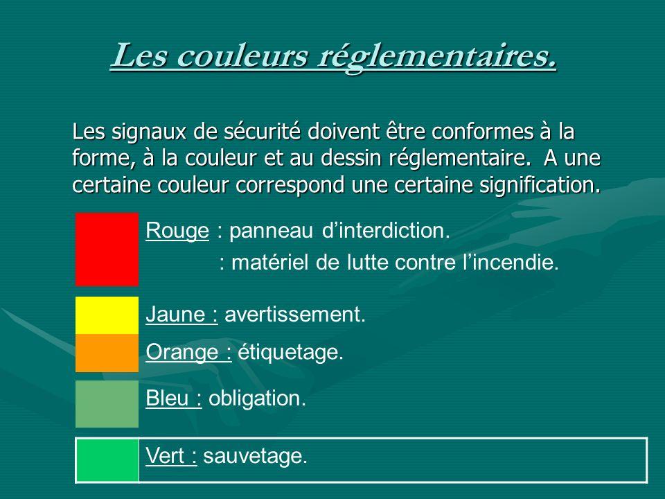 Les couleurs réglementaires. Rouge : panneau dinterdiction. : matériel de lutte contre lincendie. Les signaux de sécurité doivent être conformes à la