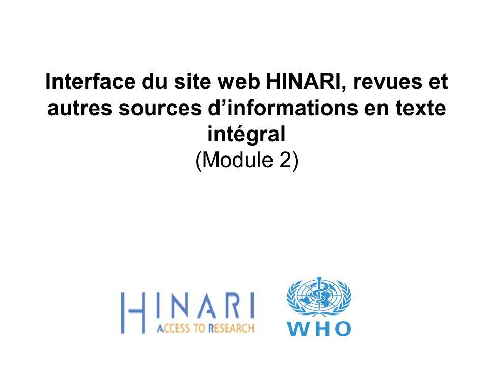 Interface du site web HINARI, revues et autres sources dinformations en texte intégral (Module 2)