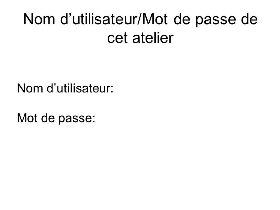 Nom dutilisateur/Mot de passe de cet atelier Nom dutilisateur: Mot de passe: