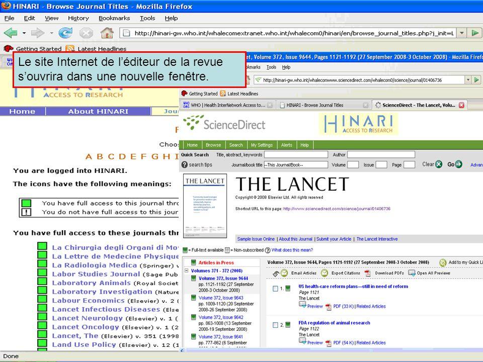 Accessing journals by title 4 Le site Internet de léditeur de la revue souvrira dans une nouvelle fenêtre.