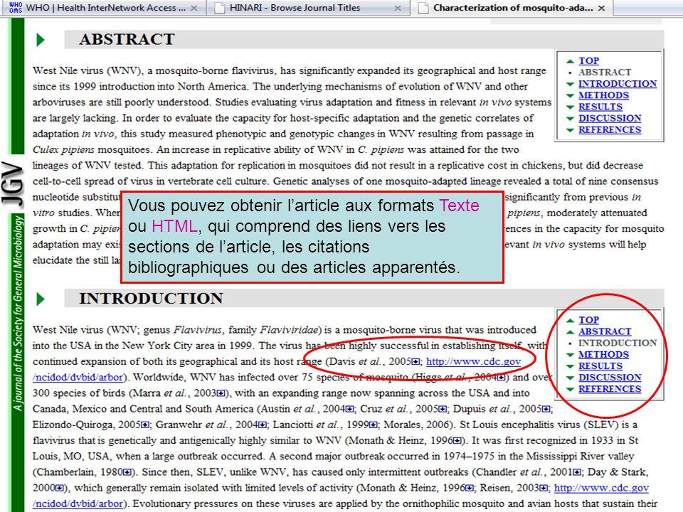 Vous pouvez obtenir larticle aux formats Texte ou HTML, qui comprend des liens vers les sections de larticle, les citations bibliographiques ou des ar