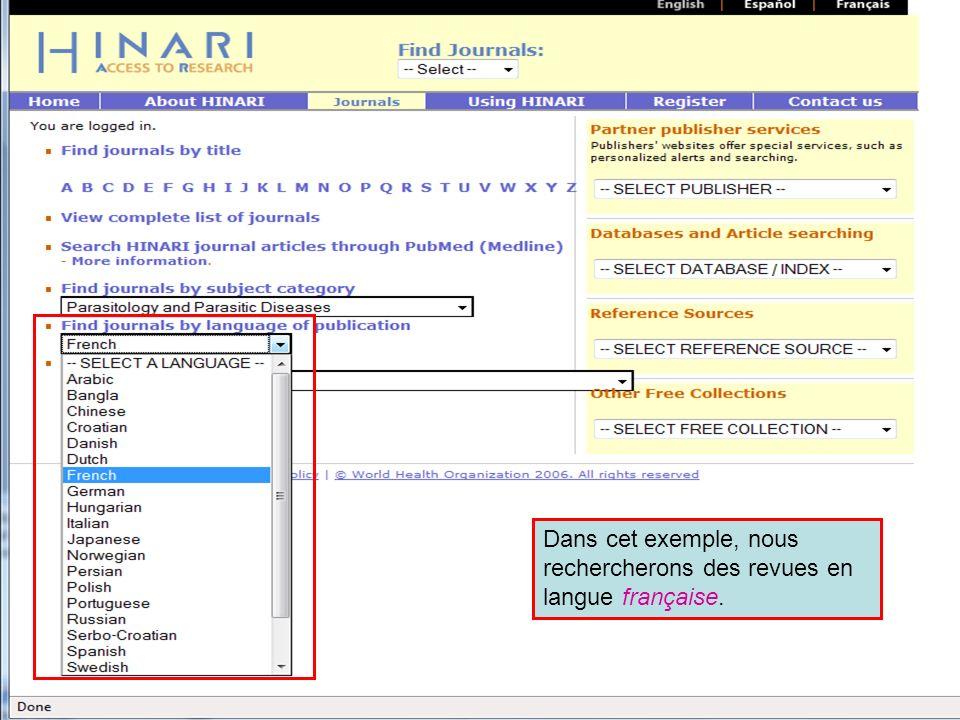 Accessing journals by Language 2 Dans cet exemple, nous rechercherons des revues en langue française.
