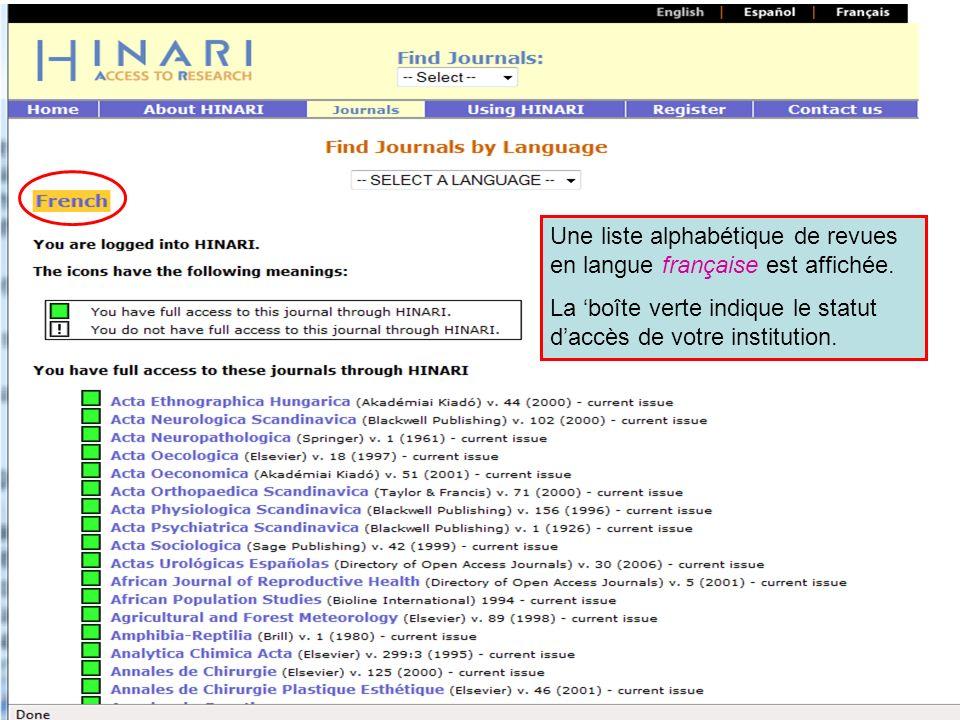 Accessing journals by Language continued Une liste alphabétique de revues en langue française est affichée. La boîte verte indique le statut daccès de