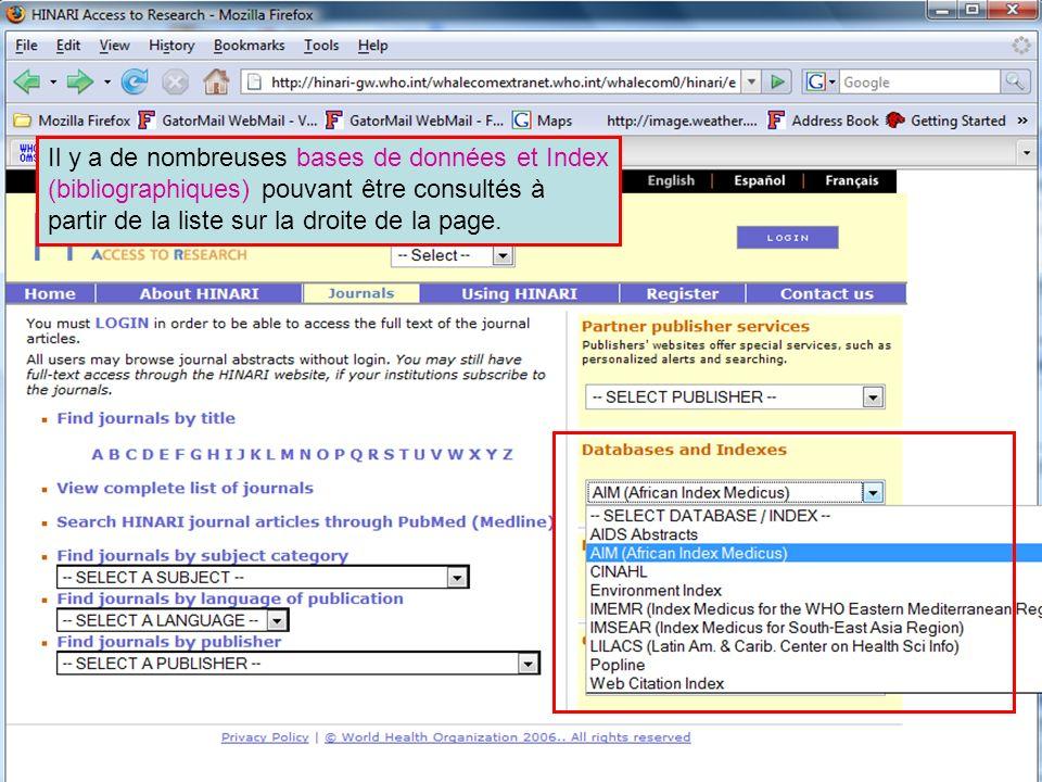 Other full text sources 1 Il y a de nombreuses bases de données et Index (bibliographiques) pouvant être consultés à partir de la liste sur la droite